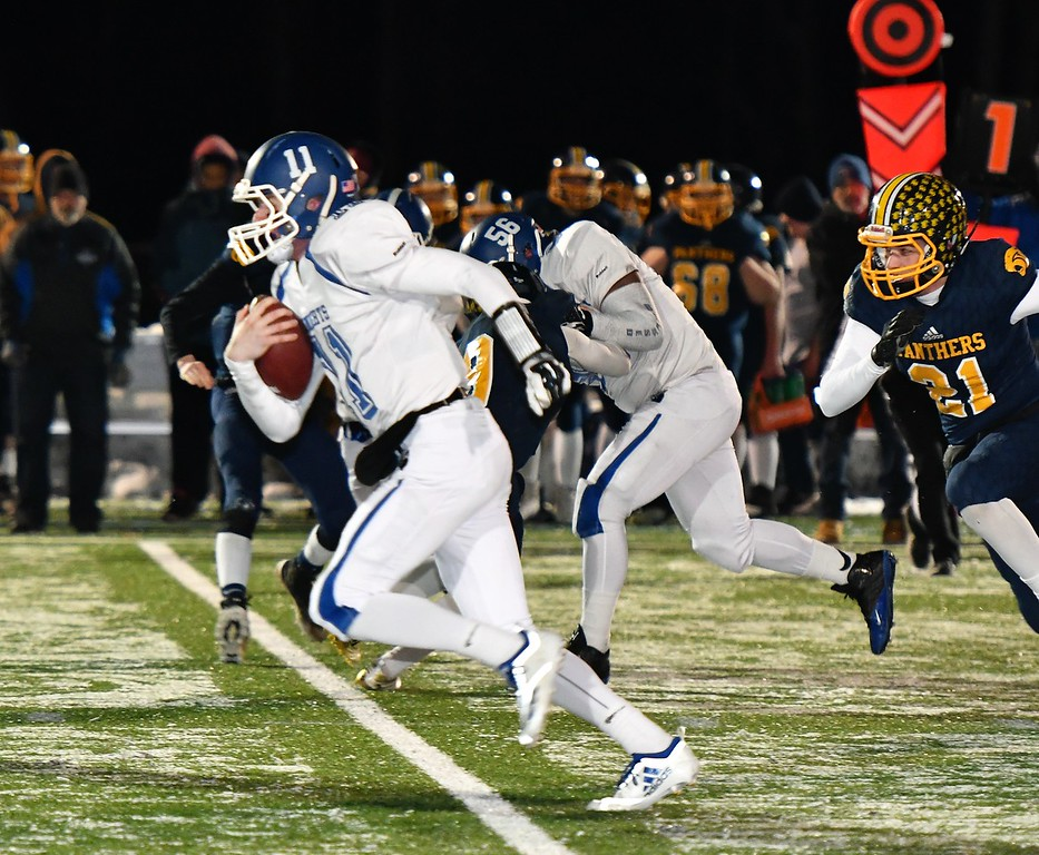 . Lunenburg QB Christopher Costich breaks free for a first down during a 52-14 Thanksgiving Eve win over Quabbin Regional in Lunenburg on Wednesday, Nov. 21, 2018. Sentinel & Enterprise / Jim Fay