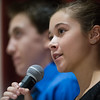 Julia Wilson of  Lunenburg class of 2021 delivers perspectives of the new building and what it means for future classes during Saturday's ribbon cutting ceremony held at Lunenburg High School. Sentinel & Enterprise photo/Jeff Porter