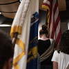 Girls scouts walk the American flag onto the stage for the playing of our National Anthem during Saturdays ribbon cutting ceremony at the Lunenburg High School's new building.  Sentinel & Enterprise photo/Jeff Porter