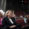 U.S. Representative, Niki Tsongas, looks up at a large screen on Saturday which shows the contruction process of  Lunenburg high's new building.  Sentinel & Enterprise photo/Jeff Porter
