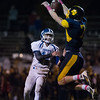 Tigers captain, Hunter Miller, denies Lunenburgs Christopher Costich and the Knights a 2 point conversion during Friday nights game between Littleton and Luneburg at Littleton High School.  Sentinel & Enterprise photo/Jeff Porter