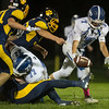 Kyle Crowley of the Lunenburg Knights fumbles the ball which is recoverd by Littleton during Friday nights 46-6 loss at Littleton High School Sentinel & Enterprise photo/Jeff Porter