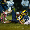 Fumble recovered by Littleton Junior, Mitch Crory, during Friday nights 46-6 win at home over Lunenburg High School.  Sentinel & Enterprise photo/Jeff Porter