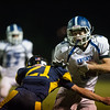 Kendall Drinkwater of the Lunenburg Knights moves the ball down field during the second half of Friday nights loss at Littleton High School.  Sentinel & Enterprise photo/Jeff Porter
