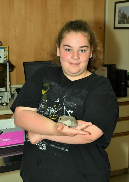 Samantha Campbell from Leominster with her Dwarf Hamster, Gray.<br /> Sentinel & Enterprise / Jim Fay