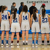 Lunenburg huddles together for the National Anthem ahead of the Central Mass. D3 semifinal game against Sutton at Worcester State University on Thursday, March 9, 2017. SENTINEL & ENTERPRISE / Ashley Green