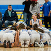 Lunenburg huddles up ahead of the Central Mass. D3 semifinal game against Sutton at Worcester State University on Thursday, March 9, 2017. SENTINEL & ENTERPRISE / Ashley Green