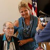Lunenburg resident and WWII veteran Clarence Goguen turned 100 years old last October and on Saturday at the Eagle House in Lunenburg he was given the Boston Post Cane as the oldest living person in town. Getting her picture taken with Goguen is his daughter Janet Benti. SENTINEL & ENTERPRISE/JOHN LOVE