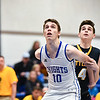 (01/30/18 LUNENBURG MA) Lunenburg senior William Cochran (10) battles for the rebound with Tigers sophomore Tony DesSisto in Tuesday night's boys varsity basketball game at Lunenburg. SENTINEL & ENTERPRISE JEFF PORTER