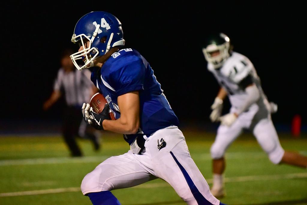 . Luneburg junior Mason Infantino catches the ball on the Oakmont 10 yard line scoring a touchdown in Friday nights varsity football game at Lunenburg High School.  SENTINEL & ENTERPRISE JEFF PORTER