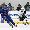 Lunenburg/Ayer-Shirley Blue Knights Hockey played Greenfield High School at the College of the Holy Cross Saturday, March 7, 2020. LAS's #19 Krystian Carter. GHS's #20 Sean O'Sullivan. SENTINEL & ENTERPRISE/JOHN LOVE