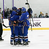 Lunenburg/Ayer-Shirley Blue Knights Hockey played Greenfield High School at the College of the Holy Cross Saturday, March 7, 2020. LAS celebrates their first goal. SENTINEL & ENTERPRISE/JOHN LOVE