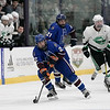 Lunenburg/Ayer-Shirley Blue Knights Hockey played Greenfield High School at the College of the Holy Cross Saturday, March 7, 2020. LAS's #2 Mathew Albert and #21 Nathan Handy. SENTINEL & ENTERPRISE/JOHN LOVE