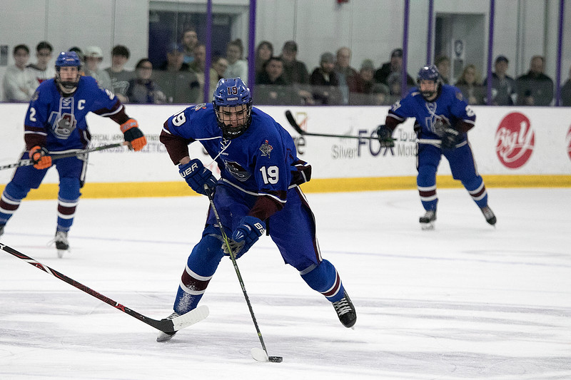 Lunenburg/Ayer-Shirley Blue Knights Hockey played Greenfield High School at the College of the Holy Cross Saturday, March 7, 2020. LAS's #19 Krystian Carter. SENTINEL & ENTERPRISE/JOHN LOVE