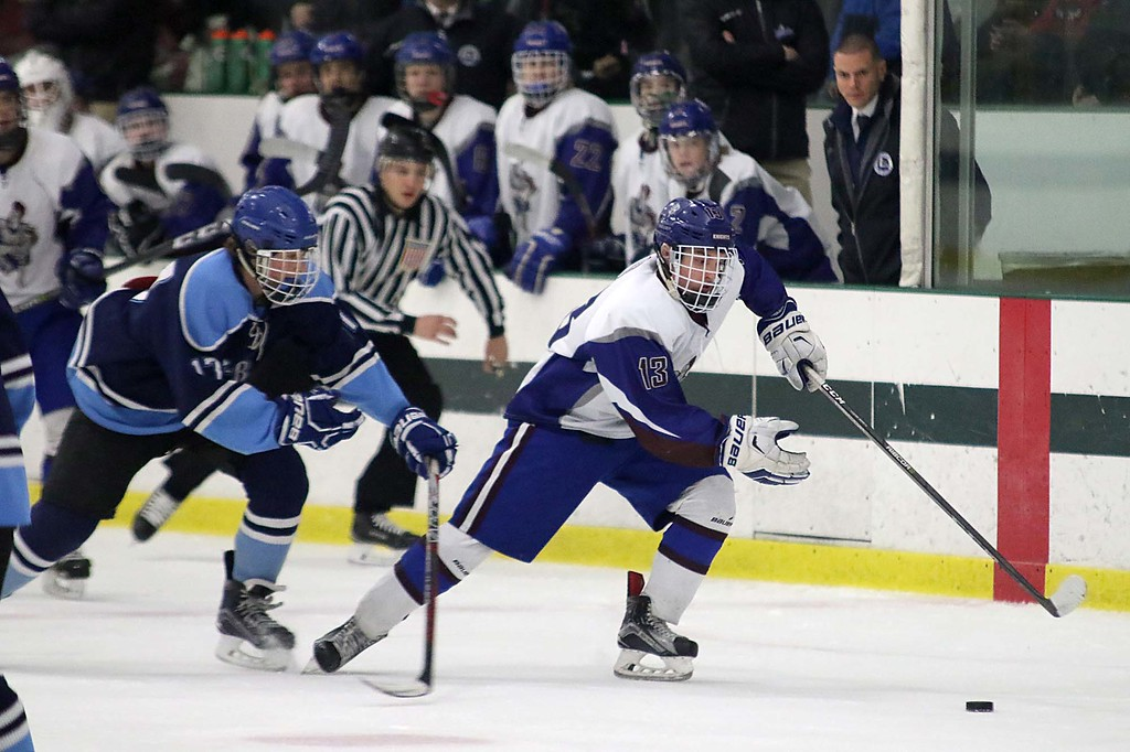 . Lunenburg/Ayer Shirley played Worcester at the Fitchburg State University\'s Wallace Civic Center on Friday night. Lunenburg\'s Luke Dufresne takes off with the puck during the game. SENTINEL & ENTERPRISE/JOHN LOVE