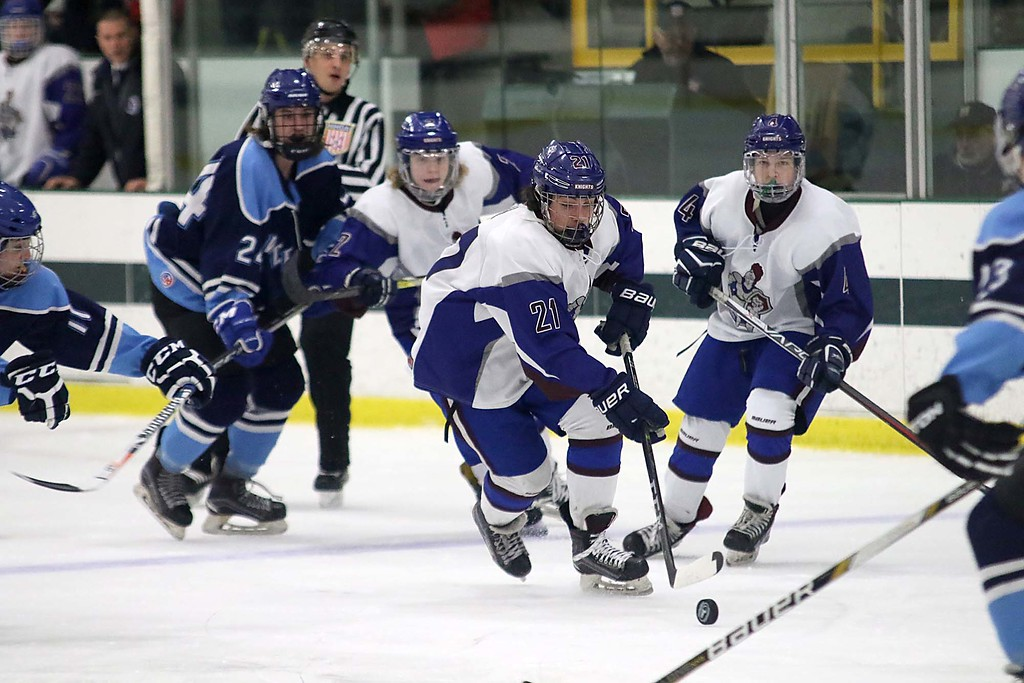 . Lunenburg/Ayer Shirley played Worcester at the Fitchburg State University\'s Wallace Civic Center on Friday night. Lunenburg\'s Nathan Handy gets control of the puck. SENTINEL & ENTERPRISE/JOHN LOVE