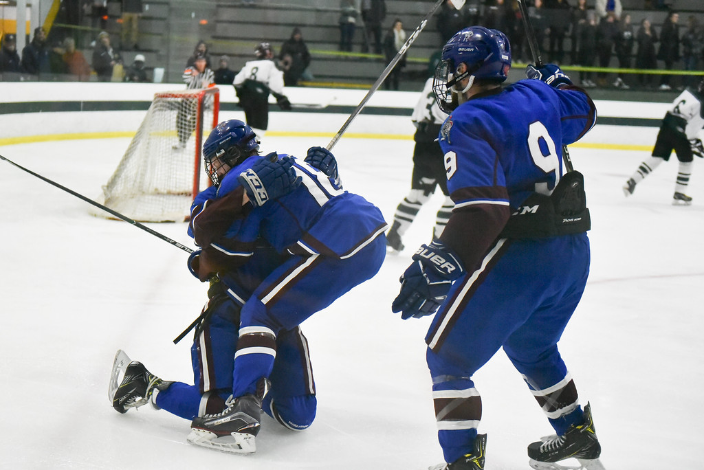 . (03/11/18 FITCHBURG MA) Lunenburg/Ayer seals the deal late in the 3rd with an open net goal in Sunday\'s Div. 3A Central boys hockey final against Grafton at the Wallace Civic Center in Fitchburg. SENTINEL & ENTERPRISE JEFF PORTER