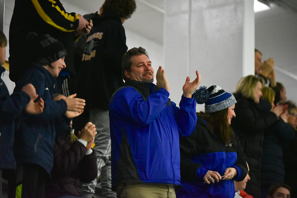 . (03/11/18 FITCHBURG MA) Fans celebrate a Knights goal in the second period of play in Sunday\'s Div. 3A Central boys hockey final against Grafton at the Wallace Civic Center in Fitchburg. SENTINEL & ENTERPRISE JEFF PORTER