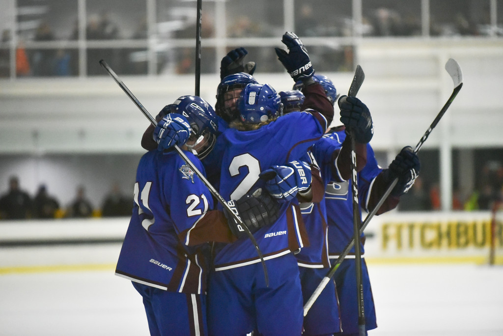 . (03/11/18 FITCHBURG MA) Lunenburg/Ayer celebrates a goal in the 2nd period of play in Sunday\'s Div. 3A Central boys hockey final against Grafton at the Wallace Civic Center in Fitchburg. SENTINEL & ENTERPRISE JEFF PORTER
