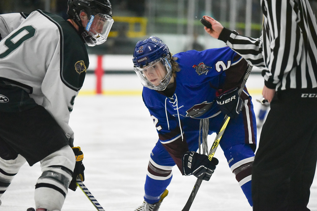 . (03/11/18 FITCHBURG MA) Lunenburg/Ayer sophomore Matthew Albert takes the face off off in Sunday\'s Div. 3A Central boys hockey final against Grafton at the Wallace Civic Center in Fitchburg. SENTINEL & ENTERPRISE JEFF PORTER