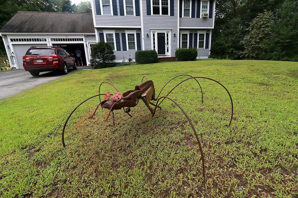 . Kevin Boussom, 18, talks about his new scrap metal art he is creating at his home in Lunenburg, Tuesday August 21, 2018. As you pull into his driveway you are created by his very first piece, a spider, that sits on his front lawn. SENTINEL & ENTERPRISE/JOHN LOVE