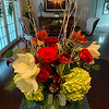 Faith's amazing fresh floral centerpiece beautifies a kitchen island.
