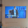 The big screen introduces Pastor Webb, the associate pastor, doing the sermon this week.