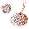 Auspicious Collection<br /> 18K Multi-coloured Gold Diamond & Pink Sapphire Ring<br /> HK$37,800<br /> <br /> 18K Multi-coloured Gold Diamond & Pink Sapphire Pendant<br /> HK$56,300