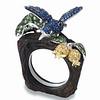18K Multi-colored Gold Bird Motif Wooden Ring Set with Diamonds, Sapphires & Semi-precious stones<br /> HK$12,000