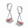 18K Multi-colored Gold Bird Motif Earrings Set with Pink Sapphires, White & Black Diamond<br /> HK$13,400