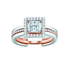 EMPHASIS JEWELLERY_Solitaire PLUS系列_公主方鑽套戒(主石0.30ct - 0.70ct)_約價HK$11,700-44,200<br /> EMPHASIS JEWELLERY_Solitaire PLUS Dual Diamond Ring Set With Princess-cut Diamond in 18K Rose and White Gold_HK$1,700-44,200