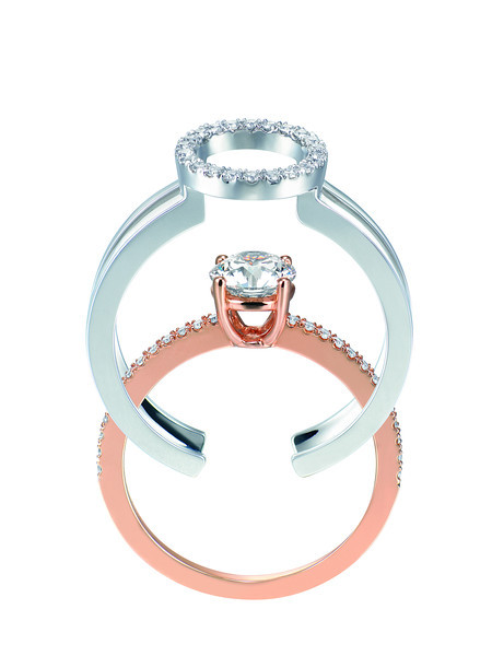 EMPHASIS JEWELLERY_Solitaire PLUS 系列_18K玫瑰金及白金圓鑽套戒(主石0.30ct - 0.70ct) (3)_約價HK$15,500-52,000<br /> EMPHASIS JEWELLERY_Solitaire PLUS Dual Diamond Ring Set With Round Diamond in 18K Rose and White Gold(3)_HK$15,500-52,000