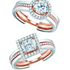 EMPHASIS JEWELLERY_Solitaire PLUS系列_(上) 18K玫瑰金及白金圓鑽套戒_約價HK$15,500-52,000; (下)18K玫瑰金及白金公主方鑽套戒_約價HK$11,700-44,200<br /> EMPHASIS JEWELLERY_Solitaire PLUS系列_Solitaire PLUS Dual Diamond Ring Set With Round Diamond & Princess-cut in 18K Rose and White Gold