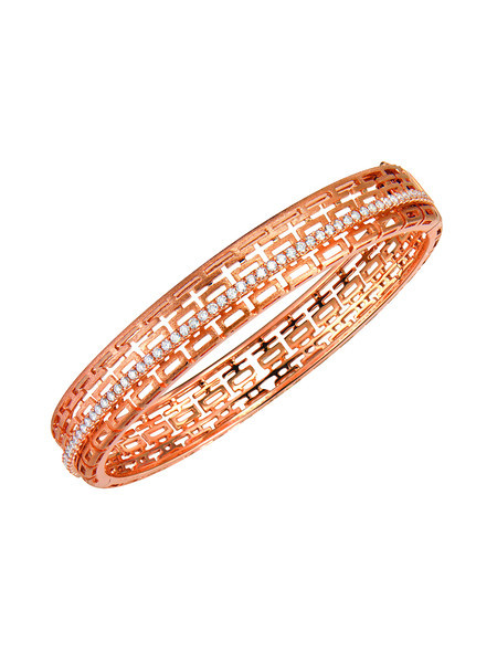 EMPHASIS JEWELLERY_Auspicious Collection_18K玫瑰金鑽石囍字手鐲_約價HK$24,000<br /> EMPHASIS JEWELLERY_Auspicious Collection_Diamond Bangle in 18K Rose Gold_Approx. HK$24,000