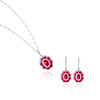 (左) EMPHASIS JEWELLERY_Gem Obsession_18K白金紅寶石襯鑽石吊墜_約價HK$24,000<br /> (右) EMPHASIS JEWELLERY_Gem Obsession_18K白金紅寶石襯鑽石耳環_約價HK$27,000<br /> <br /> (Left) EMPHASIS JEWELLERY_Gem Obsession_Flower motif pendant set with rubies and diamonds in 18K white gold_Approx. HK$24,000<br /> (Right) EMPHASIS JEWELLERY_Gem Obsession_Flower motif earrings set with rubies and diamonds in 18K white gold_Approx. HK$27,000