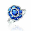 EMPHASIS JEWELLERY_Gem Obsession_18K白金藍寶石襯鑽石指環_約價HK$21,700<br /> <br /> EMPHASIS JEWELLERY_Gem Obsession_Flower motif ring set with sapphires and diamonds in 18K white gold_Approx. HK$21,700