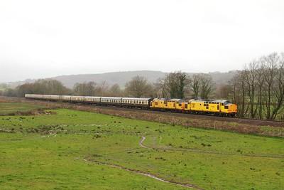 97301+97302 on the 1Z39 0618 Eastleigh - Llandrindod at Tyn-y-Bonau on the 18th March 2017