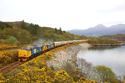 37409+37402 on the 1Z25 1900 Kyle of Lochalsh to Inverness at Badicaul on the 20th April 2019