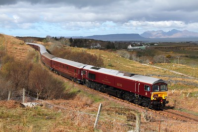 66746 tnt 66733 on the 1H86 0823 Spean Bridge to Fort William via Mallaig at Kinloid on the 23rd April 2016