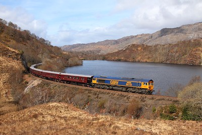 66733 tnt 66746 on the 1H86 0823 Spean Bridge to Fort William via Mallaig returning at Loch Dubh on the 23rd April 2016