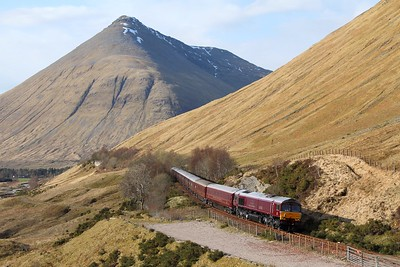 66746 trailling 66733 on the 1H85 1344 Edinburgh to Spean Bridge at County March Summit on the 22nd April 2016