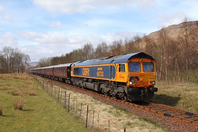 66733 tnt 66746 on the 1H86 0823 Spean Bridge to Fort William via Mallaig returning at Drumbeg on the 23rd April 2016