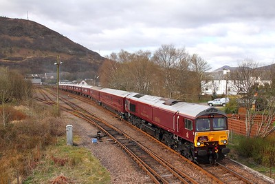 66746 tnt 66733 on the 1H86 0823 Spean Bridge to Fort William via Mallaig at Fort William junction on the 23rd April 2016 1