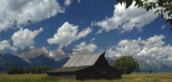 Grand Teton N P  Mormon Barn Panoramic