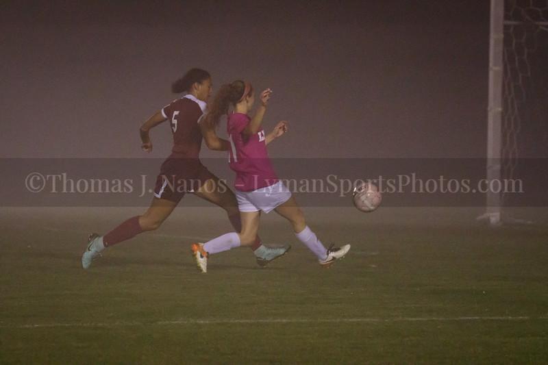 Lyman Memorial High School Girls Soccer vs Windham (in a fog bank)