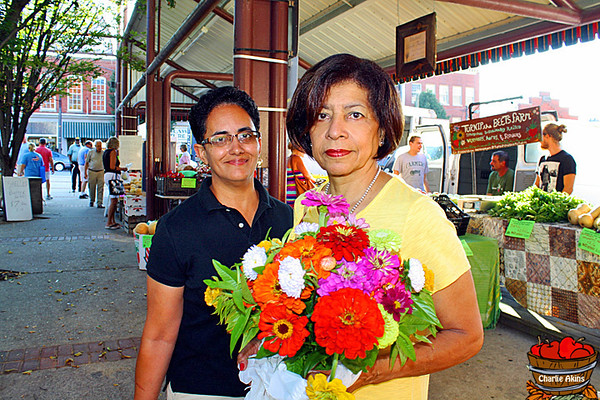 These ladies bought pretty flowers