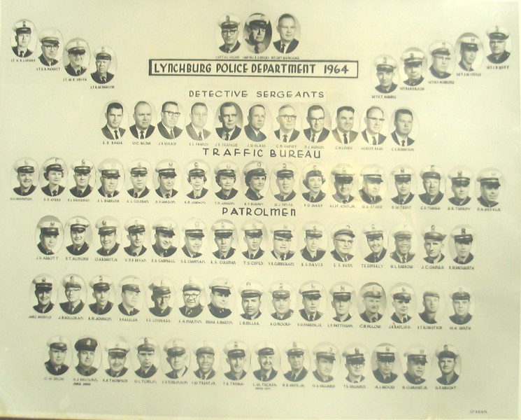 A 1964 Photo Roster of the Lynchburg Police Department  (06654)