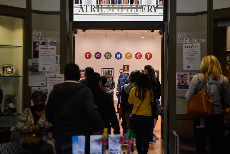 """Parents, students, and art lovers gather at The Lyndon House Arts Center for the biennial Clarke County School District Student Art Exhibition on November 11, 2017. This years theme was """"Connect.""""<br /> (Photos Courtesy Athens-Clarke County Leisure Services / athensclarkecounty.com/leisure )"""