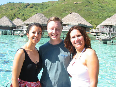 Scott, Olga and I with views of the overwater bungalows