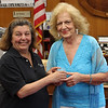 Lynn, Ma. 6-20-17. Mayor Judith Flanagen Kennedy presents Estelle Revelotis with a pencil sharpener in addition to her citations.
